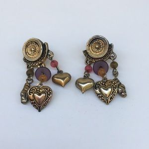 Jewelry - Vintage Purple Pink and Gold Heart Earrings